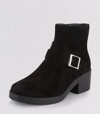 Teens Black Suedette Buckle Ankle Boots