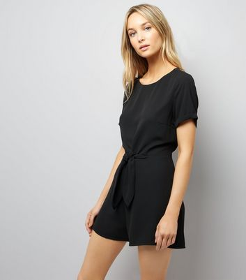 Black Tie Front Short Sleeve Playsuit