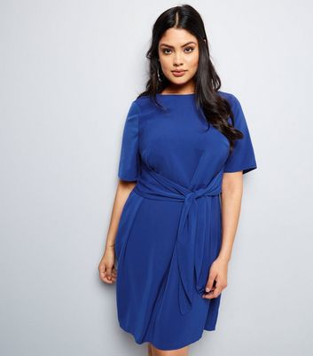 Curves Blue Tie Front Dress