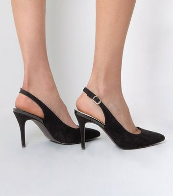 Black Comfort Suedette Sling Back Pointed Heels