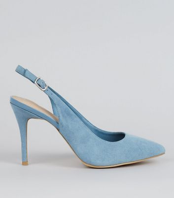 Blue Comfort Suedette Sling Back Pointed Heels