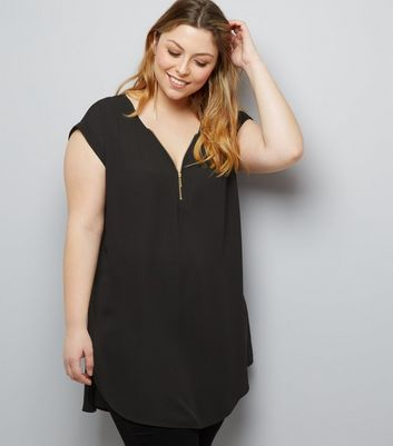 Curves Black Zip Front Tunic