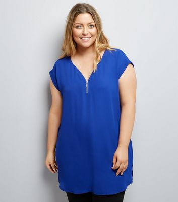 Curves Blue Zip Front Tunic