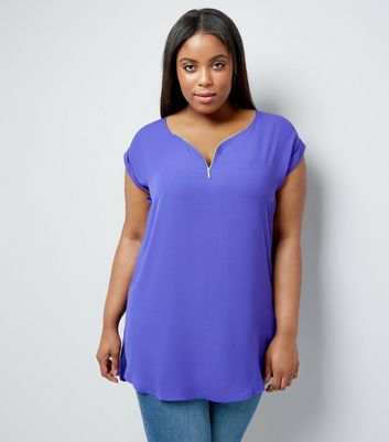 Curves Purple Zip Front Tunic