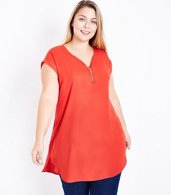 Curves Red Zip Front Tunic