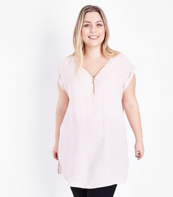 Curves Pink Zip Front Tunic