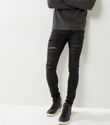 Schwarze superenge Skinny-Jeans im Used-Look