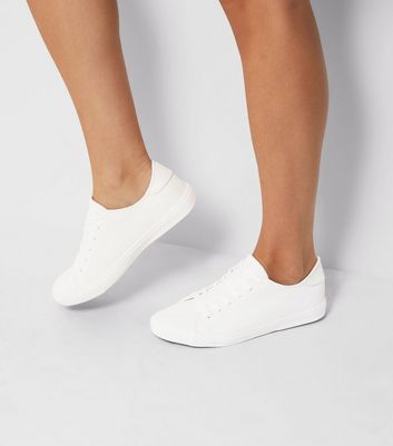 White Snakeskin Texture Trainers