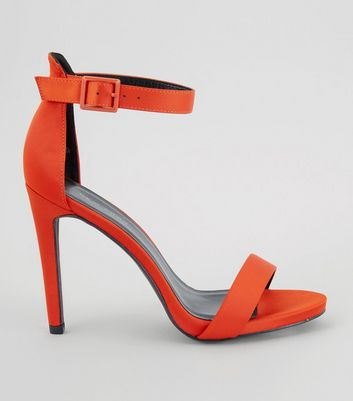 Orange Satin Buckle Strap Heeled Sandals