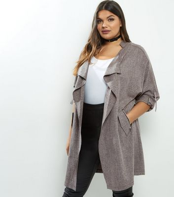 Curves Grey Cross Hatch Waterfall Duster Coat