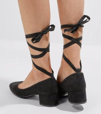 Black Suedette Tie Up Mini Block Heels