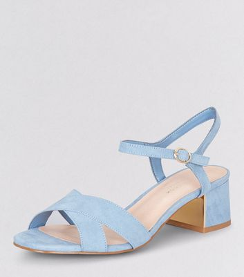 Wide Fit Blue Comfort Metal Trim Mini Heeled Sandals