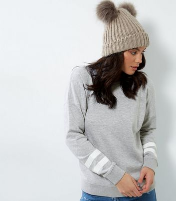Tall Grey Double Stripe Sleave Sweater