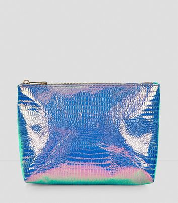 Holographic Crox Texture Pouch