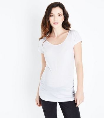 Maternity White Scoop Neck T-shirt