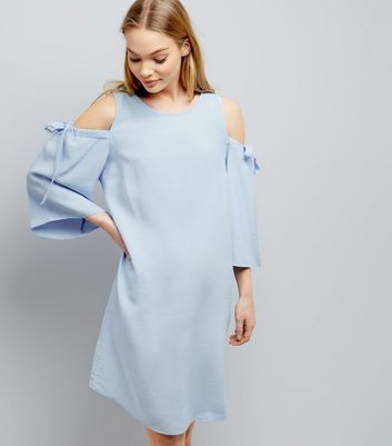 Blue Cold Shoulder Tie Sleeve Swing Dress