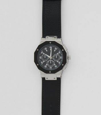 Black Hexagon Dial Oversized Watch