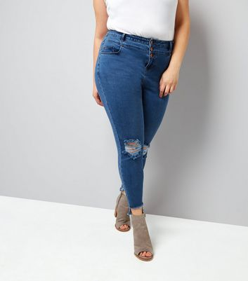 Curves Blue High Waist Ripped Skinny Jeans