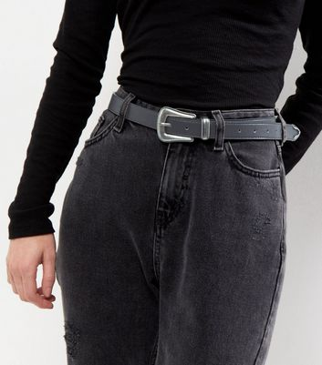 Black Sleek Western Buckle Belt
