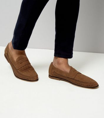 Stone Suedette Woven Side Loafers