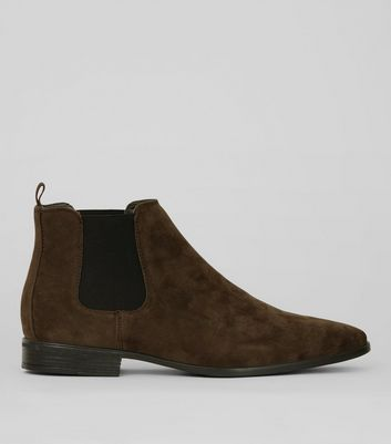 Brown Suedette Pointed Chelsea Boots