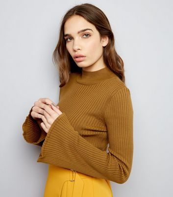 Olive Green Ribbed Flared Sleeve Jumper
