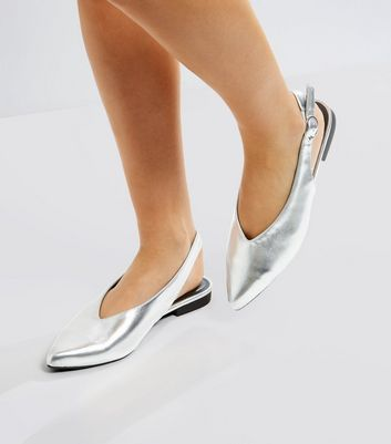 Silver Pointed Sling Back Pumps