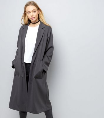 Dark Grey Soft Maxi Duster Coat