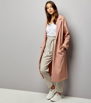 Shell Pink Soft Maxi Duster Coat