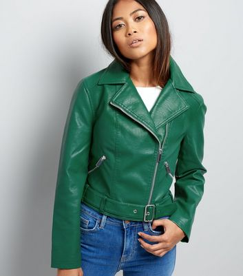 Petite Green Belted Leather-Look Cropped Biker Jacket