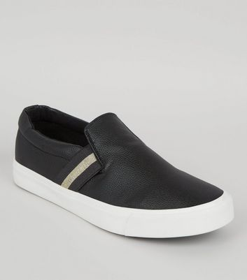 Black Contrast Elasticated Strap Plimsolls