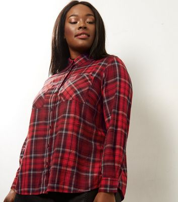 Curves Red Check Cropped Shirt
