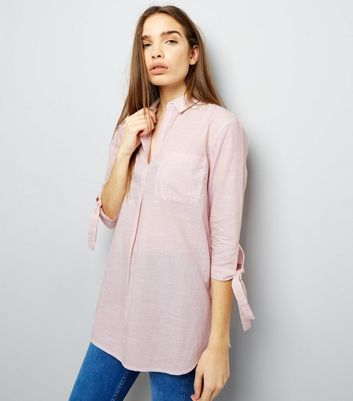Shell Pink Tie Sleeve Over Head Shirt