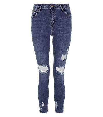 Blue Ripped Skinny Ankle Grazer Jeans