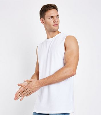 White Dropped Armhole Vest