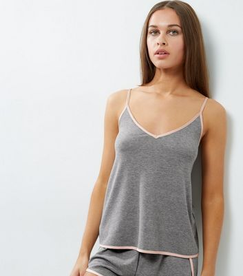 Pale Grey Brushed Sateen Trim Wrap Back Lounge Cami