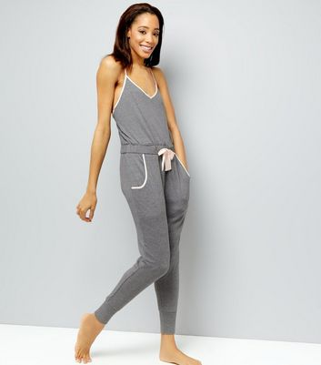 Pale Grey Brushed Sateen Trim Lounge Jumpsuit