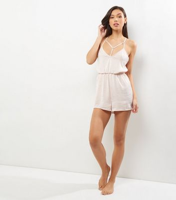 Shell Pink Sateen Harness Front Lounge Playsuit