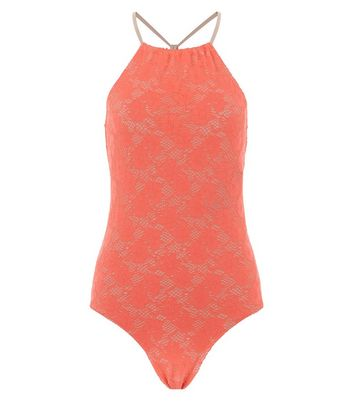 Teens Coral Crochet Swimsuit