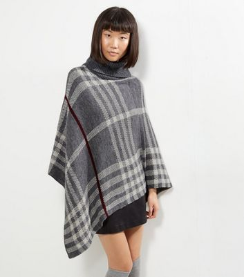 Mela Light Grey Check Knitted Poncho