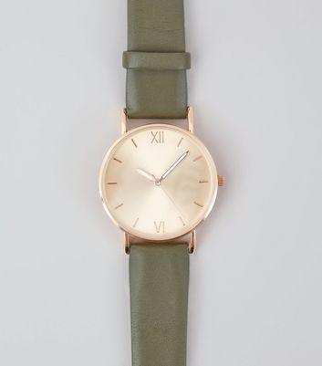 Khaki Strap Metallic Face Watch