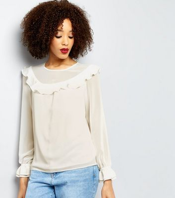 Cream Frill Trim Yoke Top