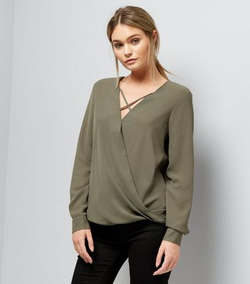 Khaki Cross Strap Wrap Front Top