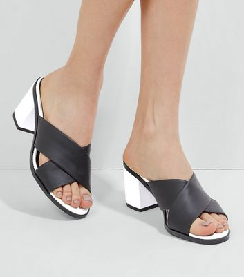Black Contrast Heeled Mules