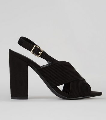 Black Suedette Ribbed Cross Strap Heels