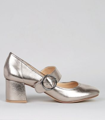 Pewter Metallic Buckle Strap Heels