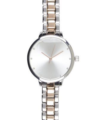 Silver Two Tone Sports Watch