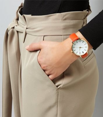 Orange Leather-Look Strap Watch