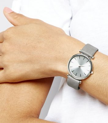 Grey Suedette Strap Watch