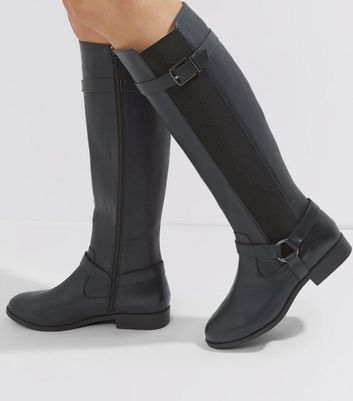 Wide Fit Black Stirrup Knee High Boots